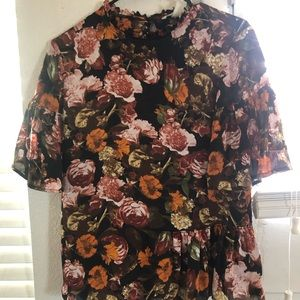 Floral high neck silk top